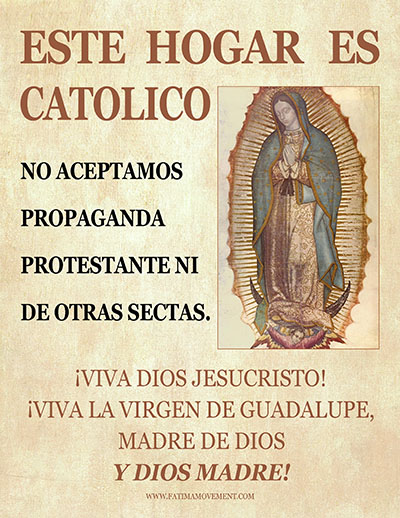 Fatima Movement Este Hogar es Catolico Flier - Spanish