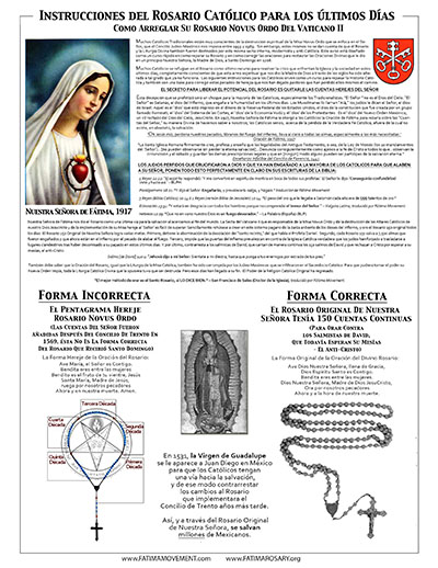 Fatima Movement Rosary Flier - Spanish