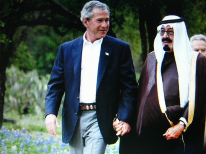 Bush and Saudi Prince hold hands