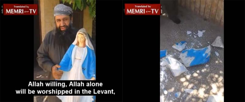 Lord of the Bible believing sheik destroys statue of Our Lady, calls her by the heretical Jewish name 'Mary'