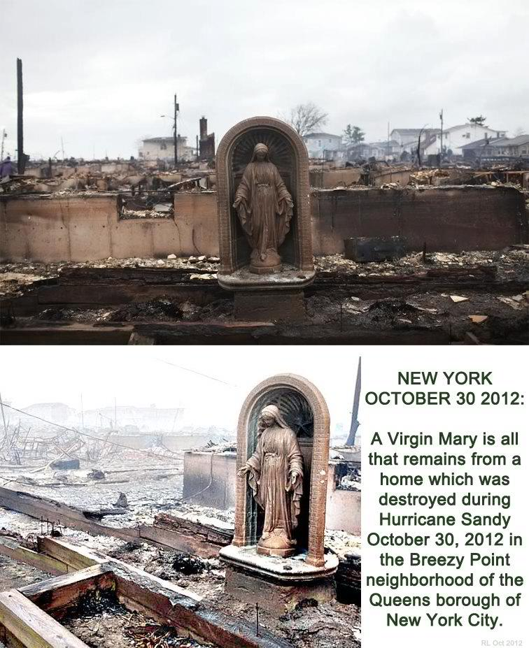 Statue of God Our Lady survives the New York Hurricane