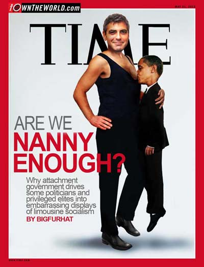 Obama portrayed as a child, feeding on the breast of George Clooney