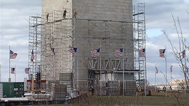 Washington Monument repairs after the Third Secret Earthquake of 2011