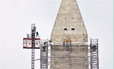 Washington Monument repairs after the Third Secret Earthquake of 2011 2