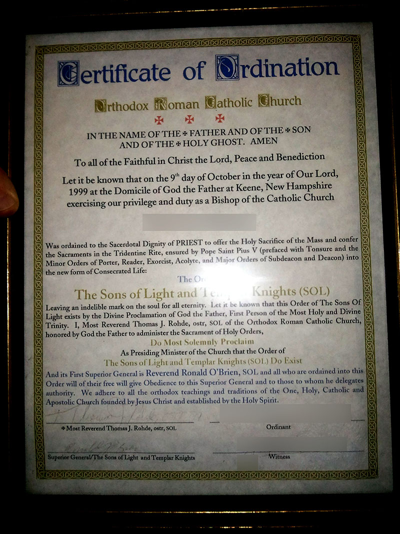 Masonic Sons of Light Priestly Ordination Certificate original