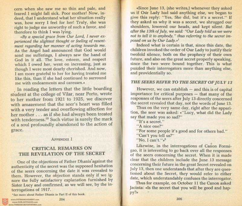 The Whole Truth About Fatima Volume 1 pages 204-205
