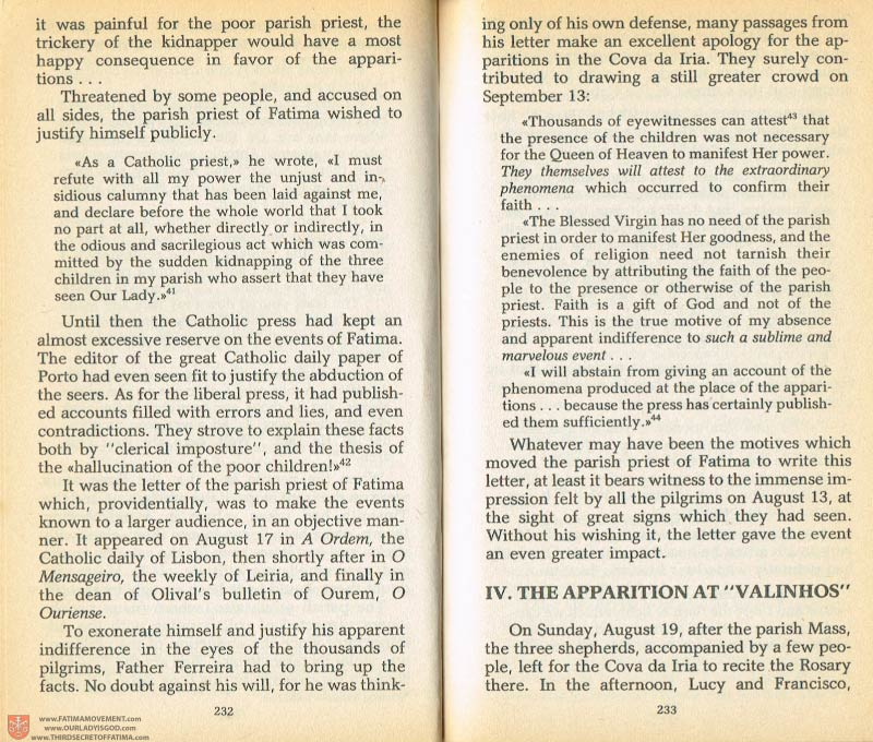 The Whole Truth About Fatima Volume 1 pages 232-233