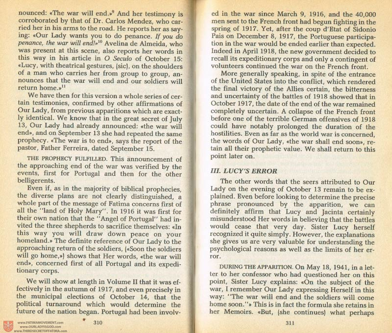 The Whole Truth About Fatima Volume 1 pages 310-311