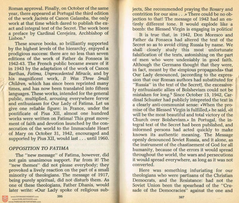 The Whole Truth About Fatima Volume 1 pages 386-387