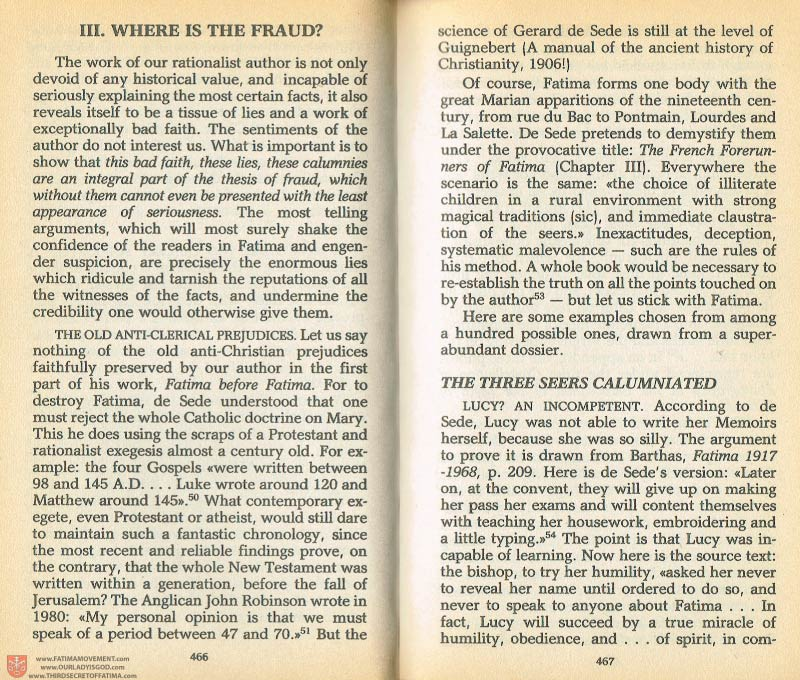 The Whole Truth About Fatima Volume 1 pages 466-467