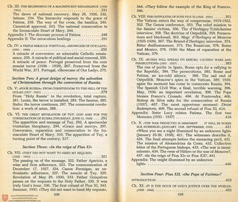 The Whole Truth About Fatima Volume 1 pages 538-539
