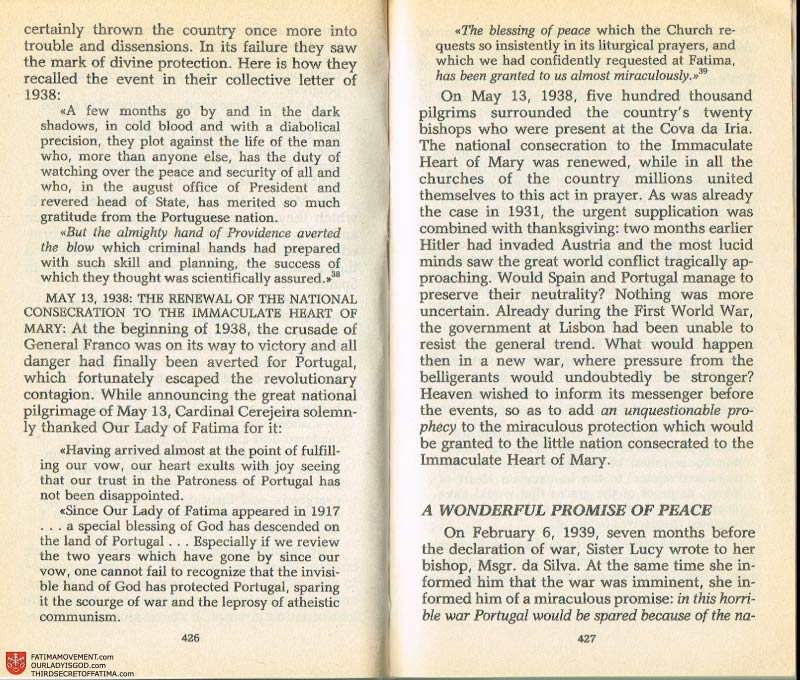 The Whole Truth About Fatima Volume 2 pages 420-421