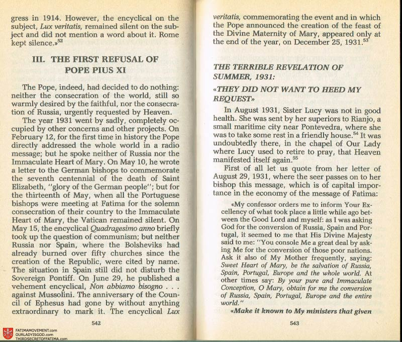 The Whole Truth About Fatima Volume 2 pages 520-521