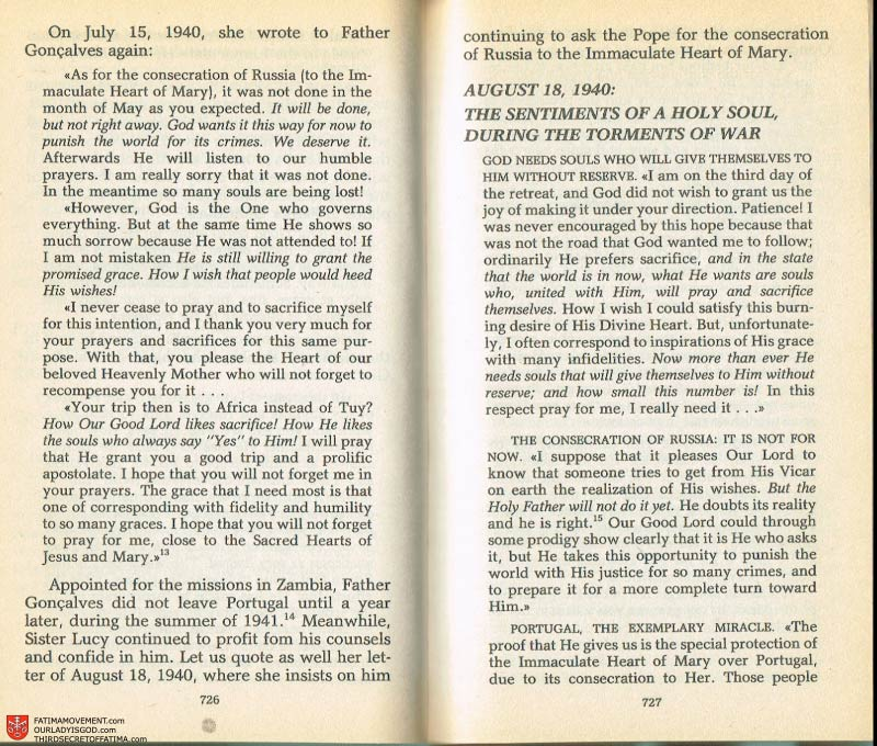 The Whole Truth About Fatima Volume 2 pages 704-705