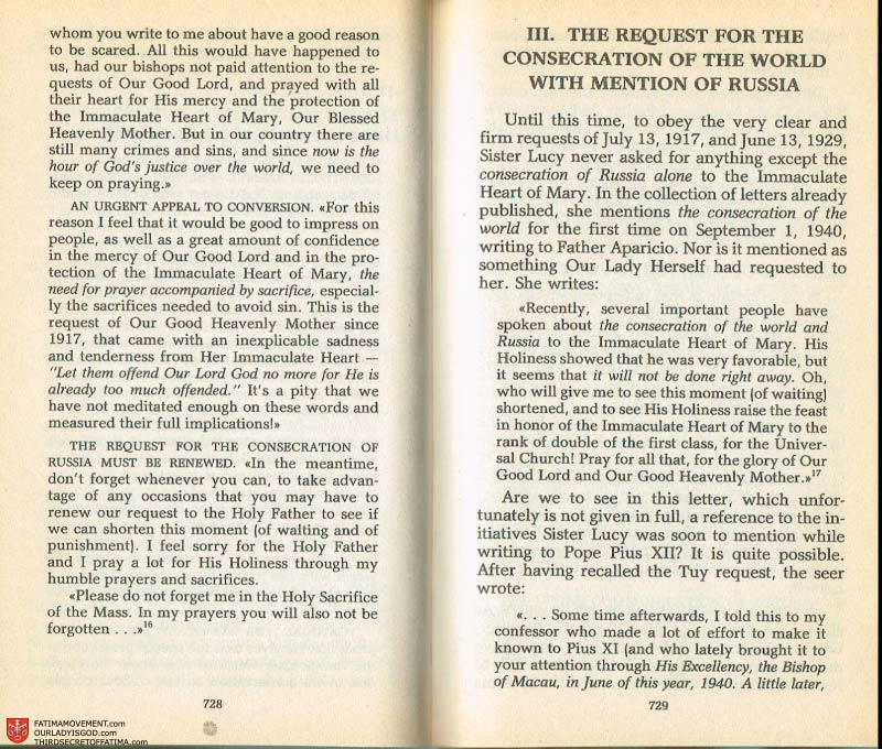 The Whole Truth About Fatima Volume 2 pages 706-707