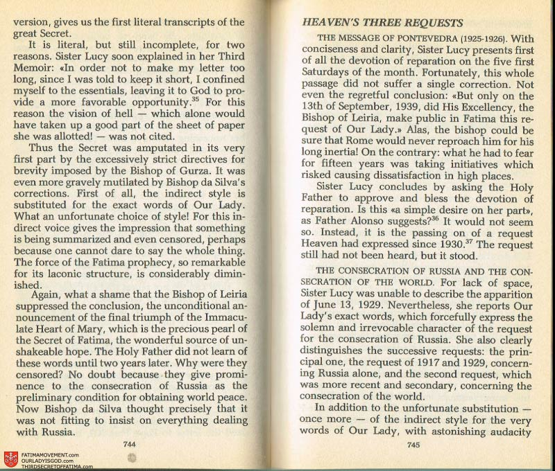 The Whole Truth About Fatima Volume 2 pages 722-723