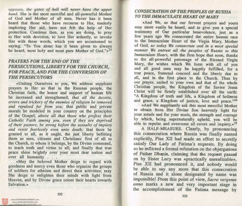 The Whole Truth About Fatima Volume 3 pages 332-333