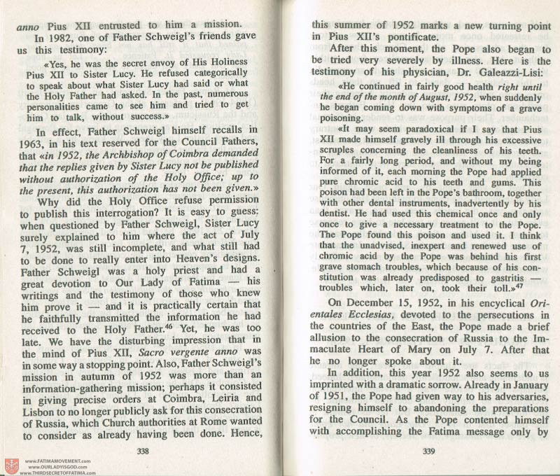 The Whole Truth About Fatima Volume 3 pages 338-339