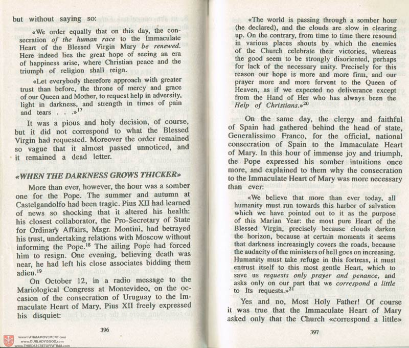 The Whole Truth About Fatima Volume 3 pages 396-397