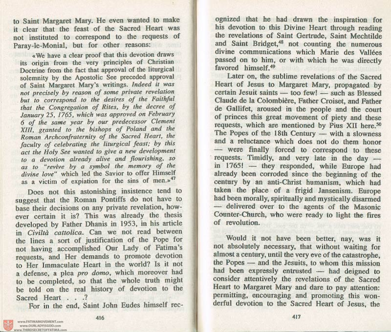 The Whole Truth About Fatima Volume 3 pages 416-417
