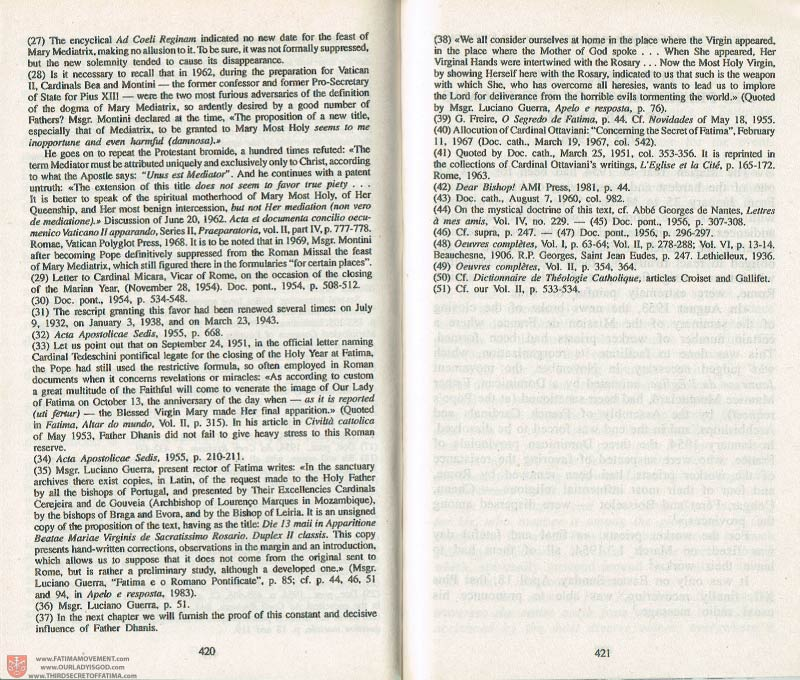 The Whole Truth About Fatima Volume 3 pages 420-421