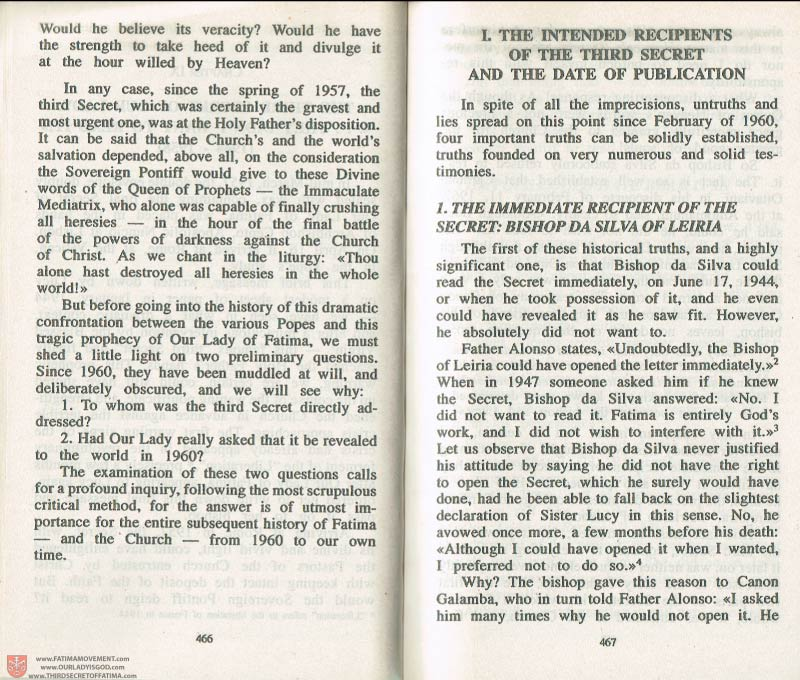 The Whole Truth About Fatima Volume 3 pages 466-467