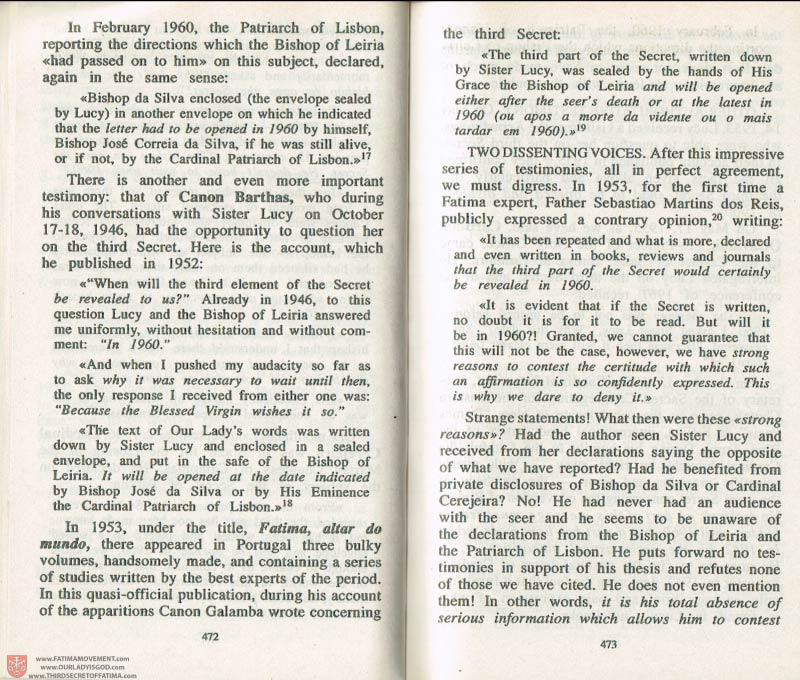 The Whole Truth About Fatima Volume 3 pages 472-473