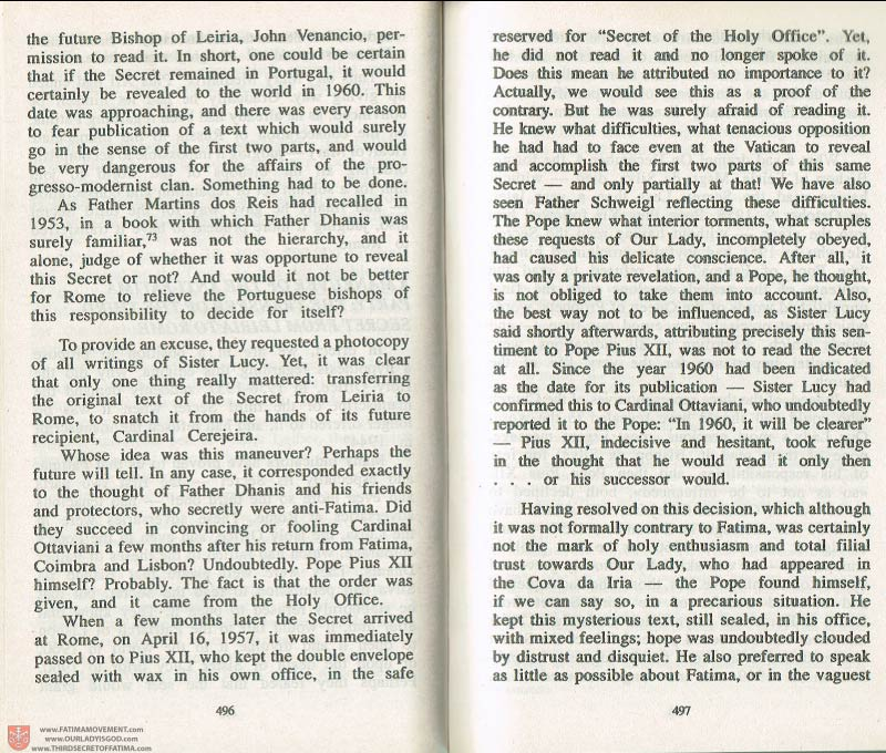 The Whole Truth About Fatima Volume 3 pages 496-497