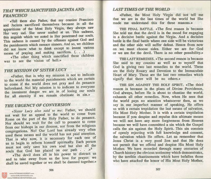 The Whole Truth About Fatima Volume 3 pages 506-507