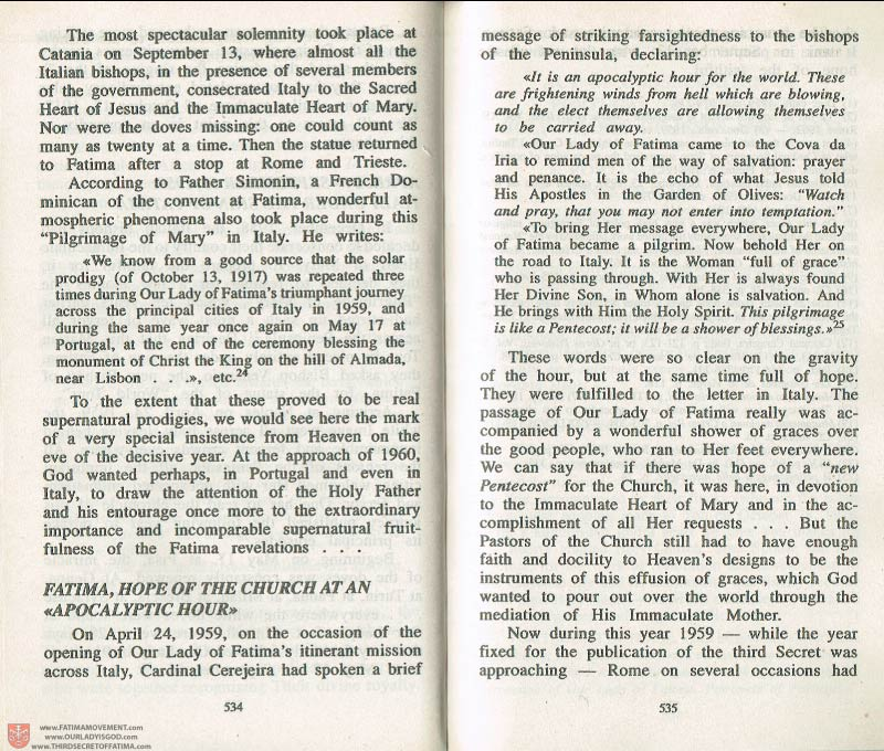 The Whole Truth About Fatima Volume 3 pages 534-535