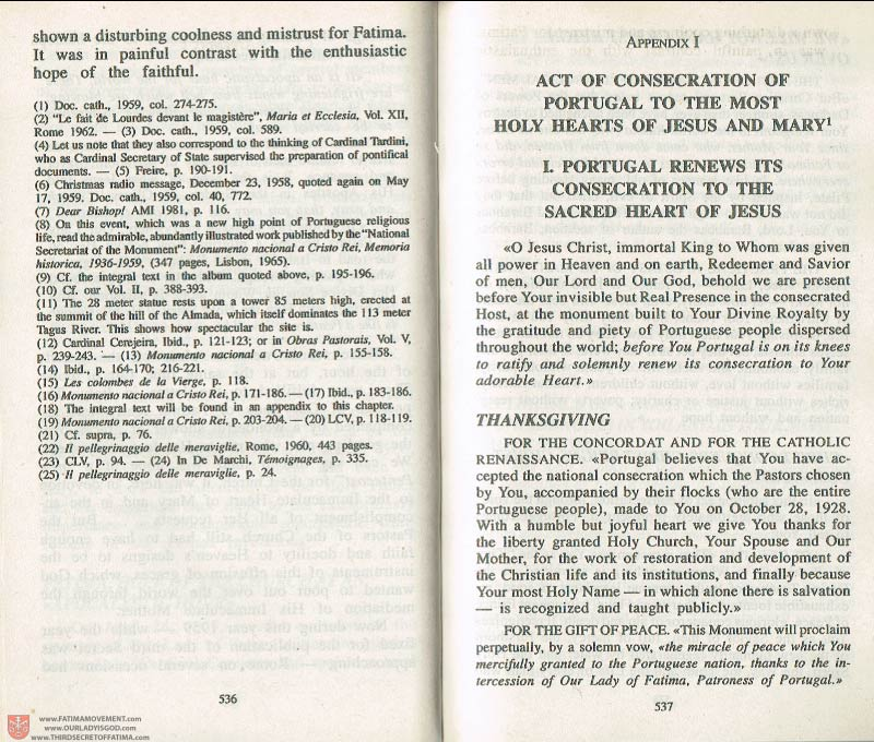 The Whole Truth About Fatima Volume 3 pages 536-537