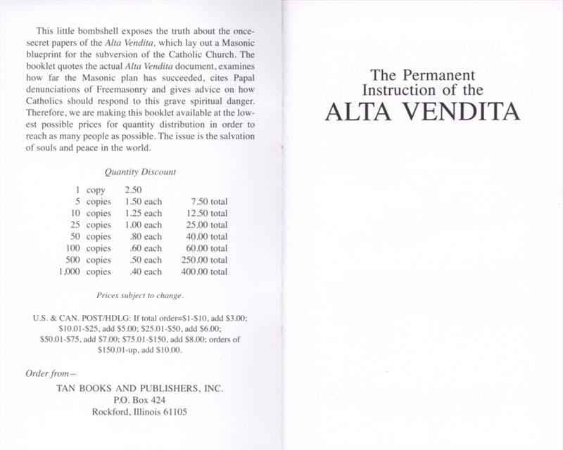 The Permanent Instruction of the Alta Vendita: A Masonic Blueprint for the Subversion of The Catholic Church page i