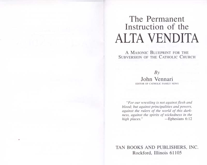 The Permanent Instruction of the Alta Vendita: A Masonic Blueprint for the Subversion of The Catholic Church page ii-iii