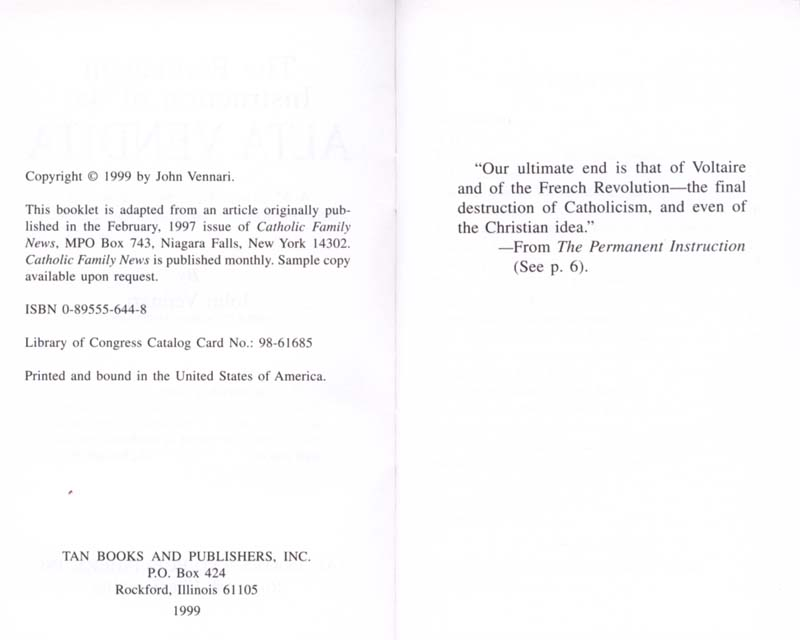 The Permanent Instruction of the Alta Vendita: A Masonic Blueprint for the Subversion of The Catholic Church page iv-v