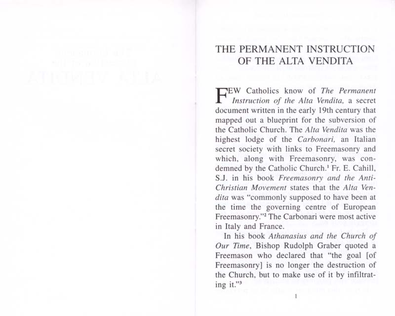 The Permanent Instruction of the Alta Vendita: A Masonic Blueprint for the Subversion of The Catholic Church page 1