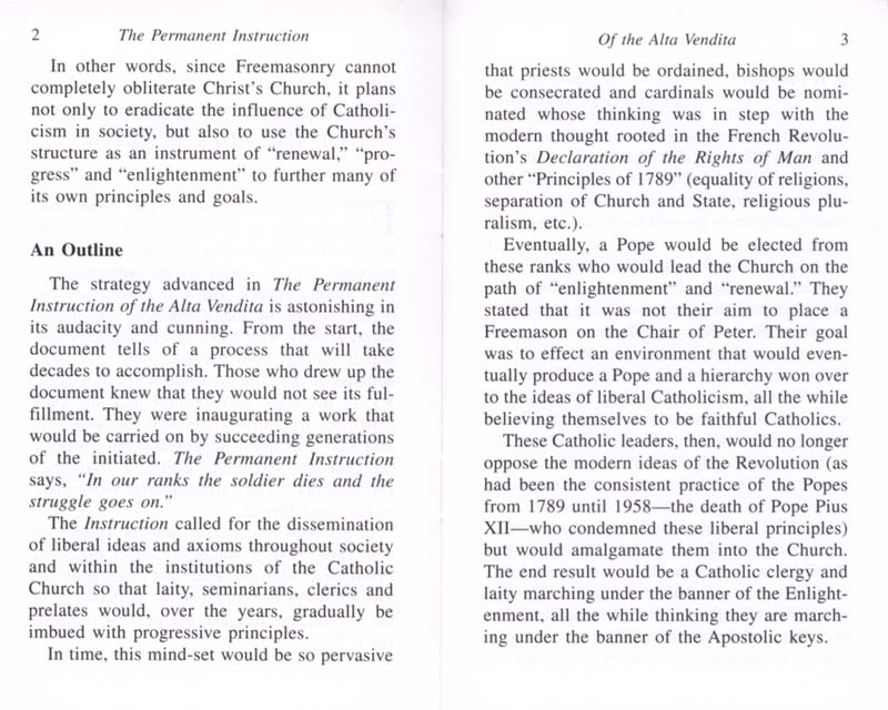 The Permanent Instruction of the Alta Vendita: A Masonic Blueprint for the Subversion of The Catholic Church page 2-3