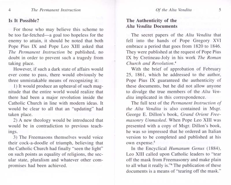 The Permanent Instruction of the Alta Vendita: A Masonic Blueprint for the Subversion of The Catholic Church page 4-5