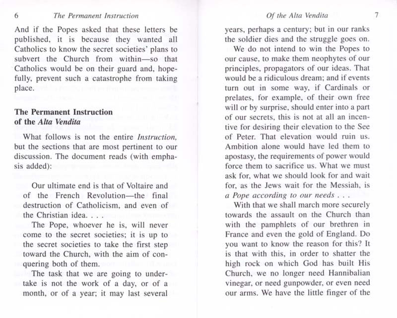 The Permanent Instruction of the Alta Vendita: A Masonic Blueprint for the Subversion of The Catholic Church page 6-7