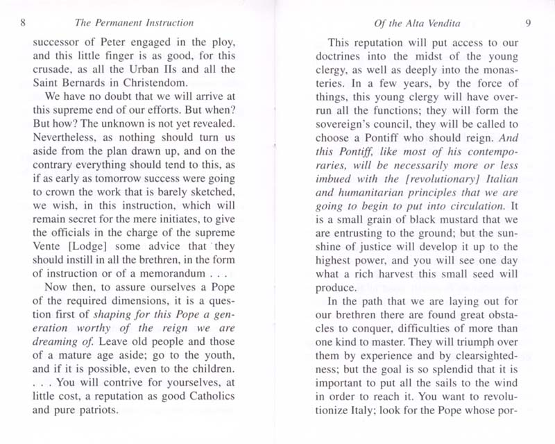 The Permanent Instruction of the Alta Vendita: A Masonic Blueprint for the Subversion of The Catholic Church page 8-9
