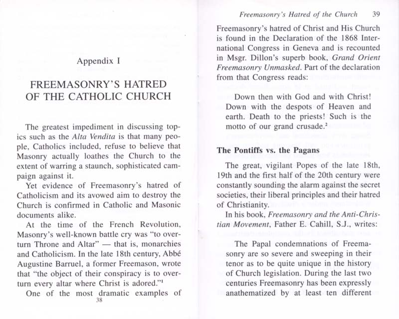 The Permanent Instruction of the Alta Vendita: A Masonic Blueprint for the Subversion of The Catholic Church page 38-39