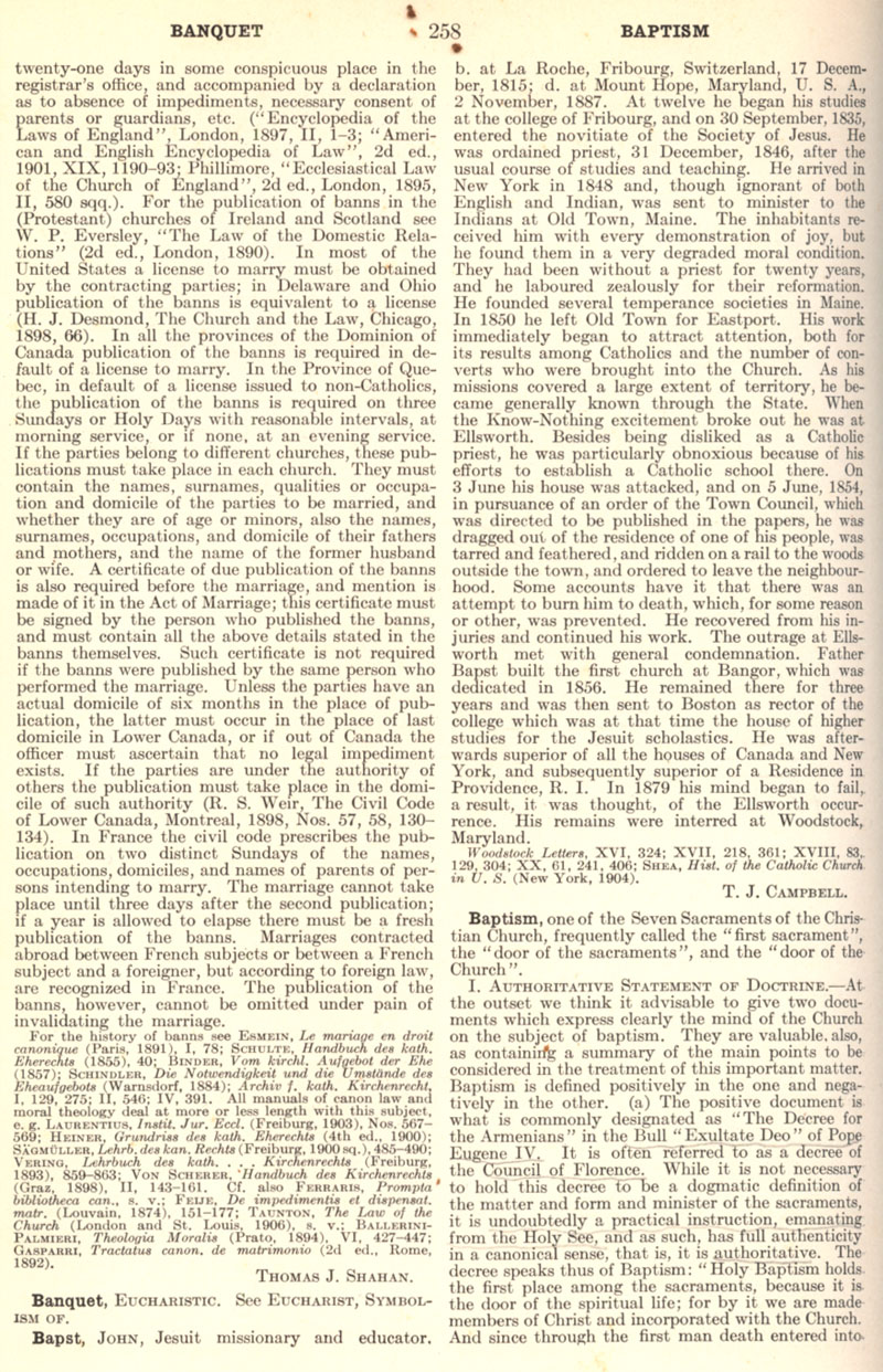 Catholic Encyclopedia Baptism page 258