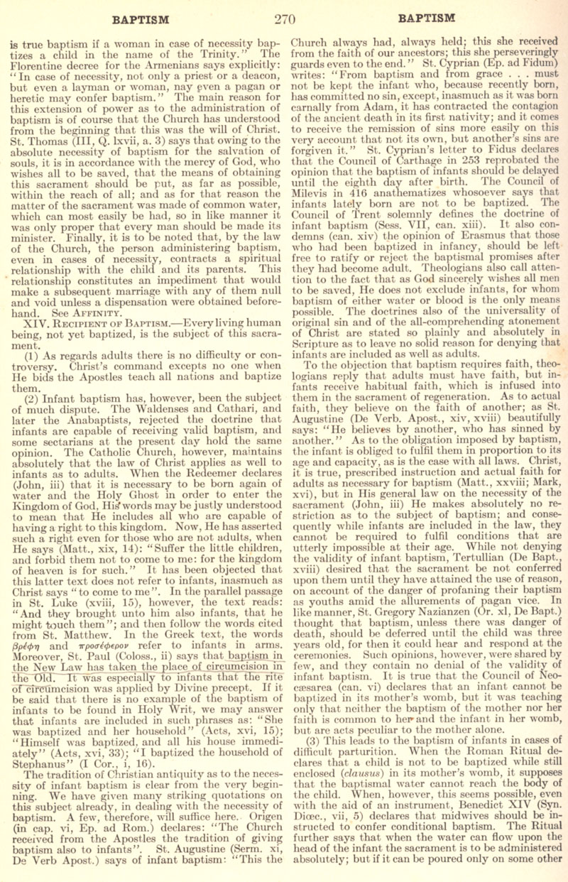 Catholic Encyclopedia Baptism page 270