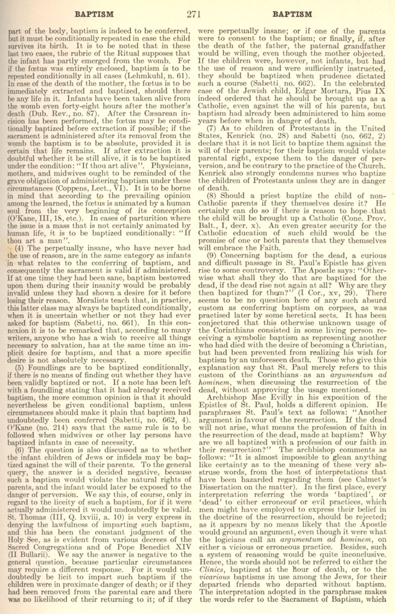 Catholic Encyclopedia Baptism page 271