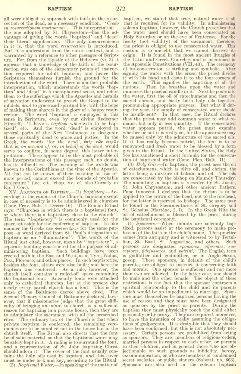 Catholic Encyclopedia Baptism page 272