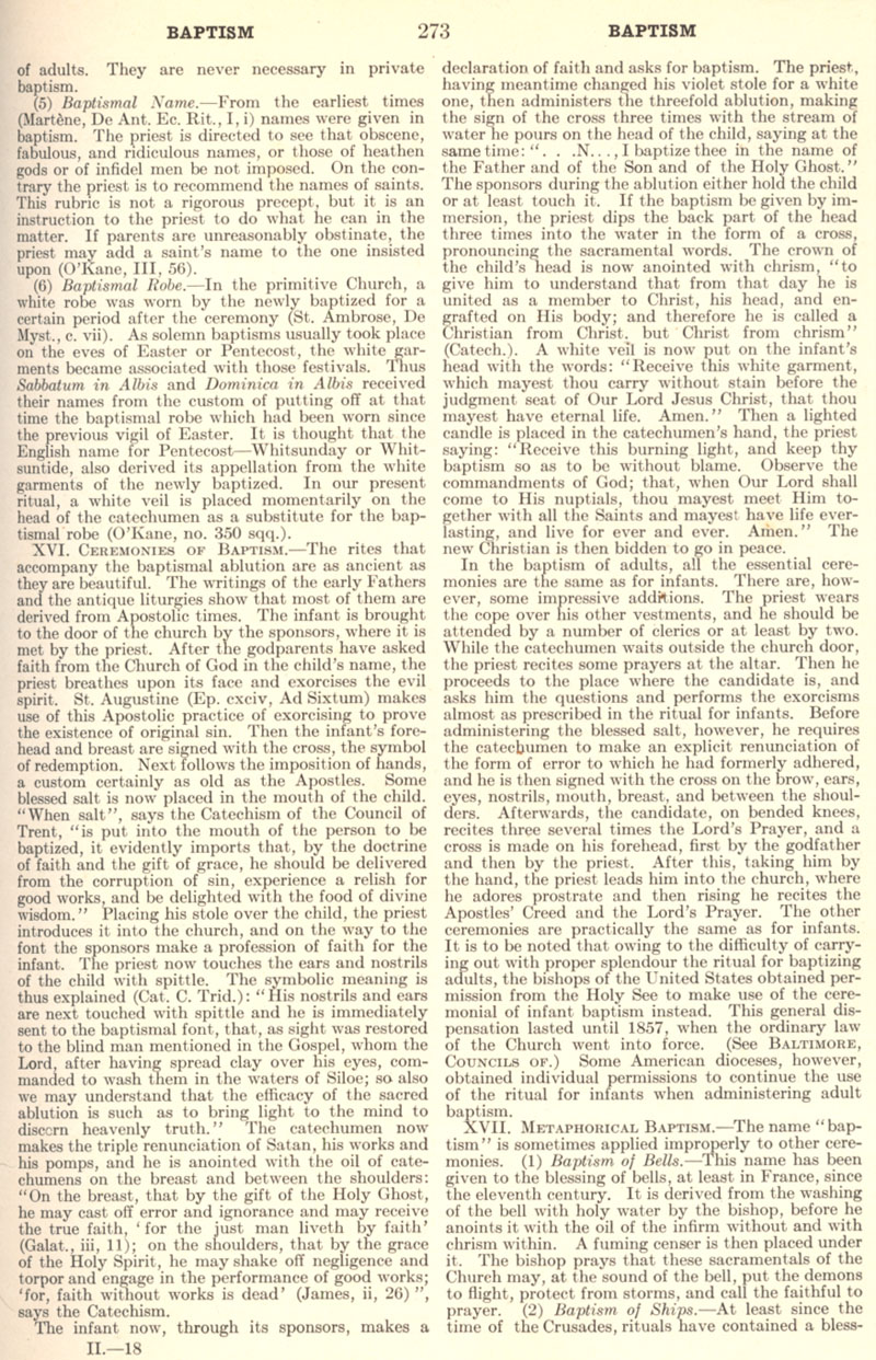 Catholic Encyclopedia Baptism page 273