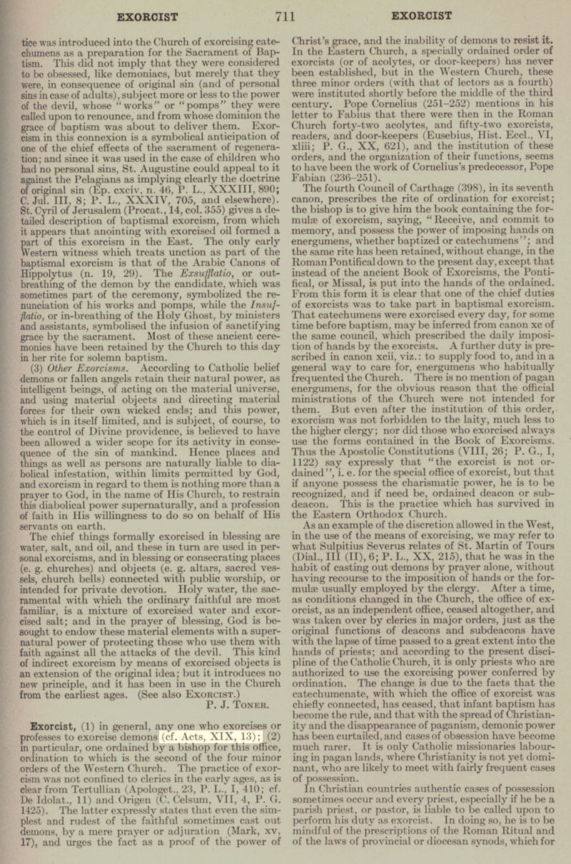 Catholic Encyclopedia Exorcist page 711