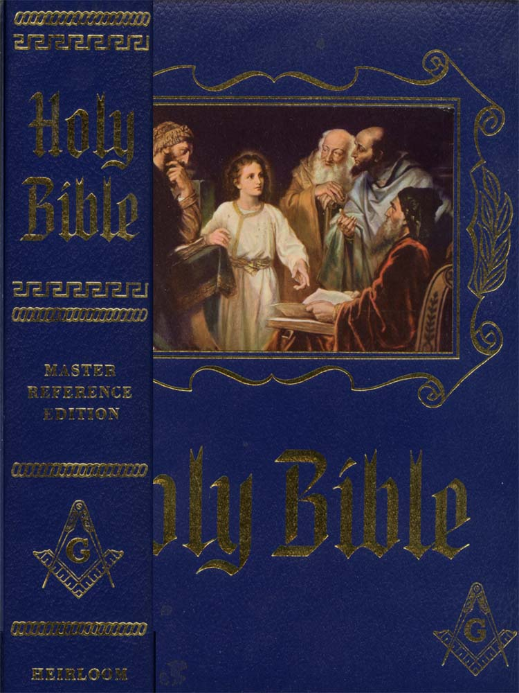 Cover of the Masonic Holy Bible with the heretical Masonic Jesus on the cover