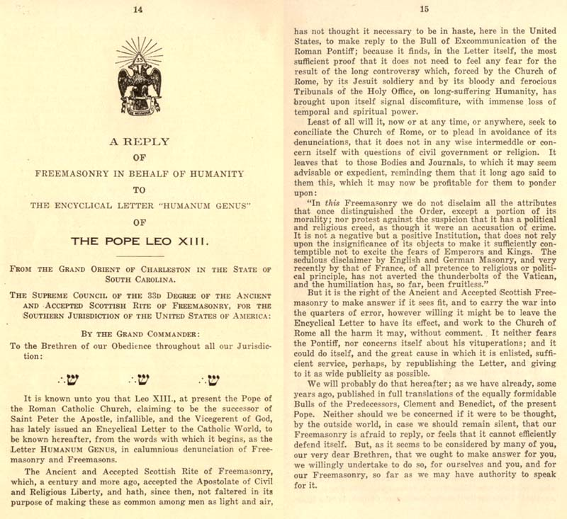 Freemason Albert Pike vs. Freemason Leo XIII: 1884 Humanum Genus pp. 46-47