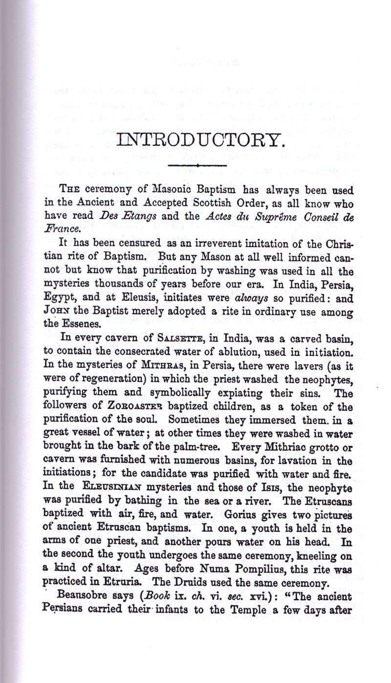 Masonic Baptism of Children by Albert Pike Part I page 6
