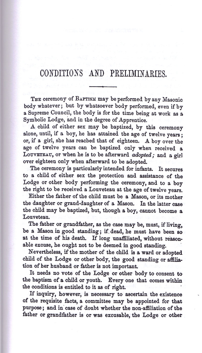 Masonic Baptism of Children by Albert Pike Part I page 9